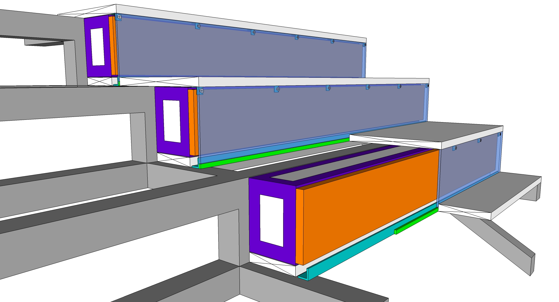 3D of engineering of LED staircase indoor pitch 6mm