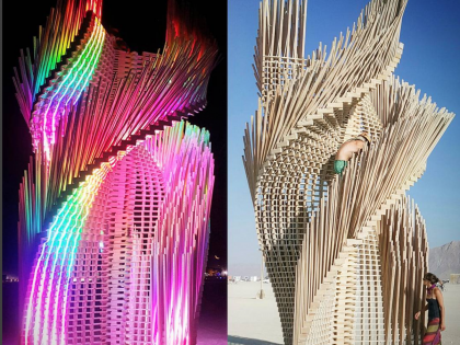 LED display strips into architectural artistic structure in Burning Man