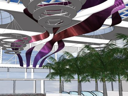 Flexible LED strips on ceiling for CC Nevada, shopping mall