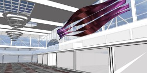 Fourth proposal 3D side view flexible led strips on ceiling for granada